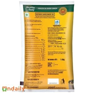 Emami Healthy & Tasty - Refined Sunflower Oil, 1 L Pouch Back