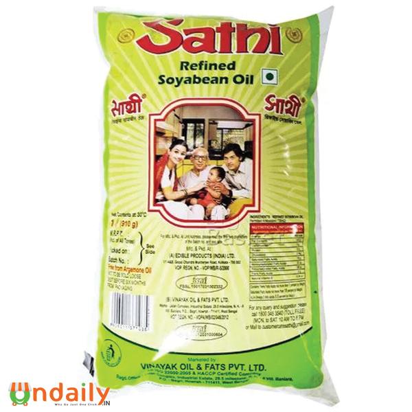 Sathi Refined - Soyabean Oil, 1 L Pouch