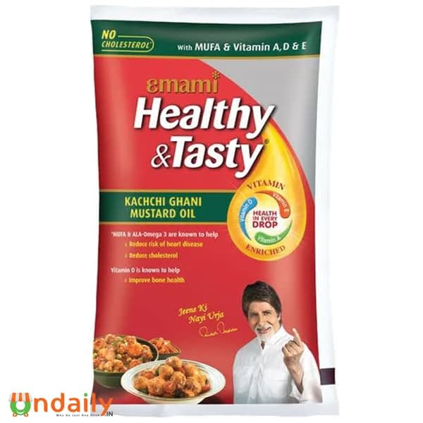 Emami Healthy & Tasty - Kachi Ghani Mustard Oil, 1 L Pouch